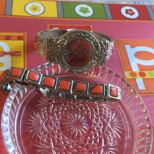 Accessories - Cuff watch with matching coral bracelet